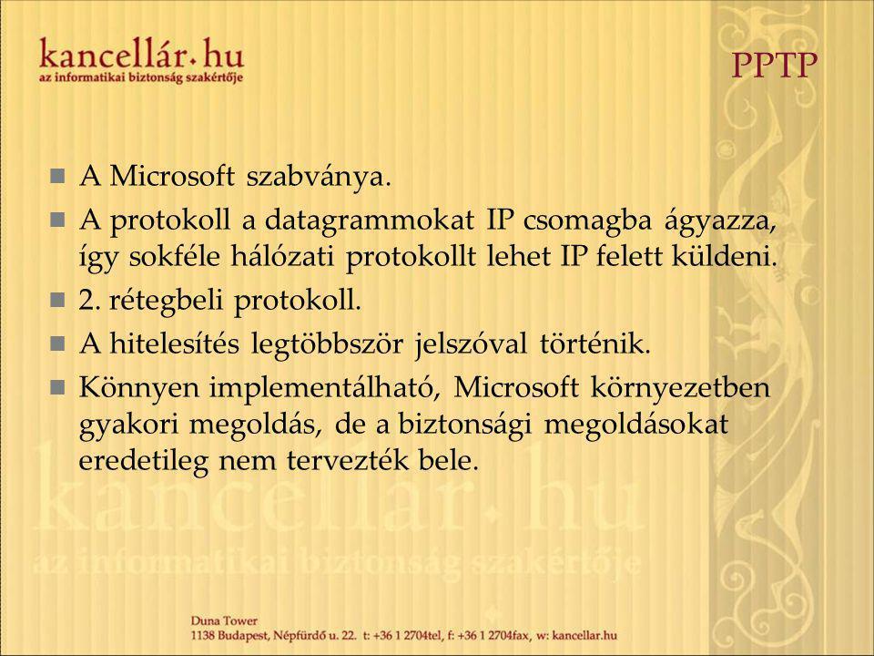 PPTP A Microsoft szabványa. A protokoll a datagrammokat IP csomagba ágyazza, így sokféle hálózati protokollt lehet IP felett küldeni. 2. rétegbeli pro