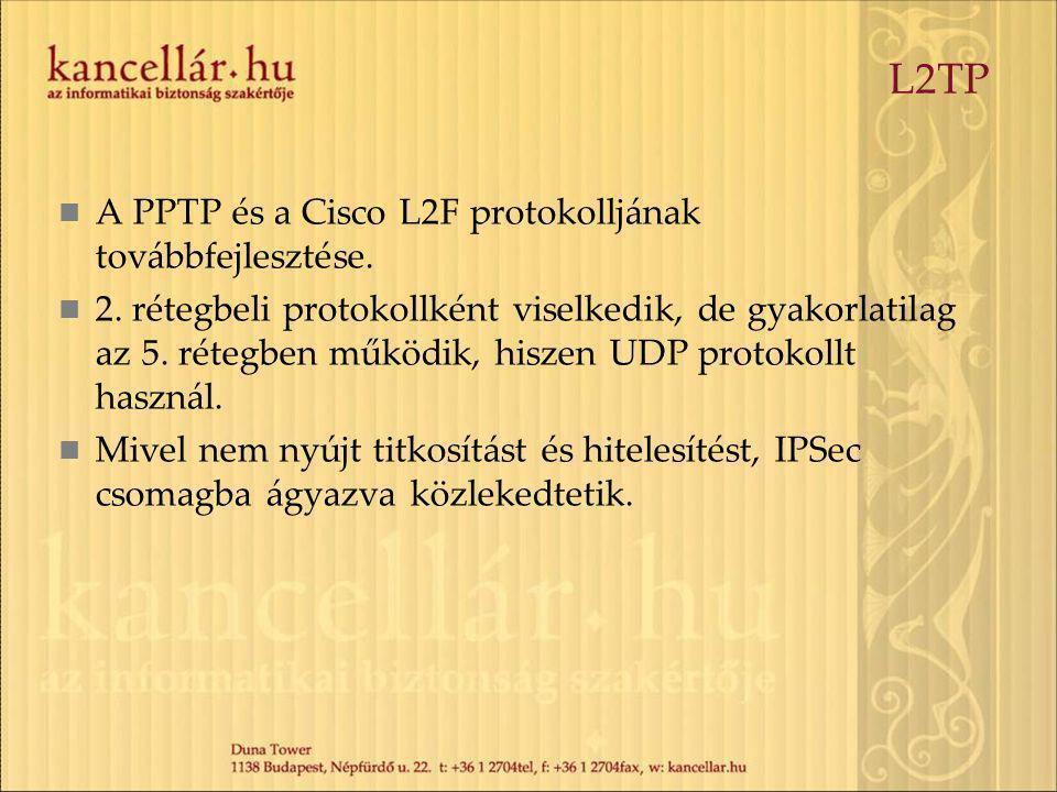 L2TP A PPTP és a Cisco L2F protokolljának továbbfejlesztése. 2. rétegbeli protokollként viselkedik, de gyakorlatilag az 5. rétegben működik, hiszen UD