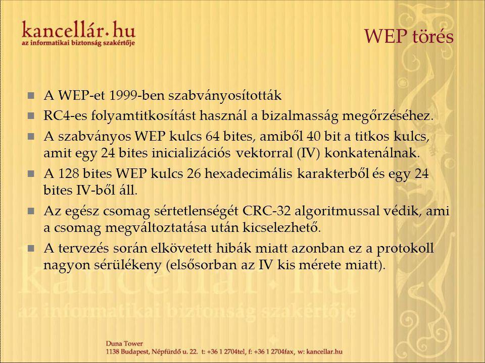 WEP törés A WEP-et 1999-ben szabványosították RC4-es folyamtitkosítást használ a bizalmasság megőrzéséhez.