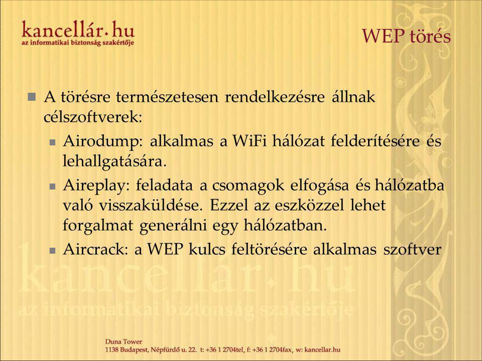 WEP törés A törésre természetesen rendelkezésre állnak célszoftverek: Airodump: alkalmas a WiFi hálózat felderítésére és lehallgatására. Aireplay: fel