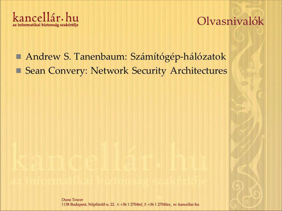 Olvasnivalók Andrew S. Tanenbaum: Számítógép-hálózatok Sean Convery: Network Security Architectures