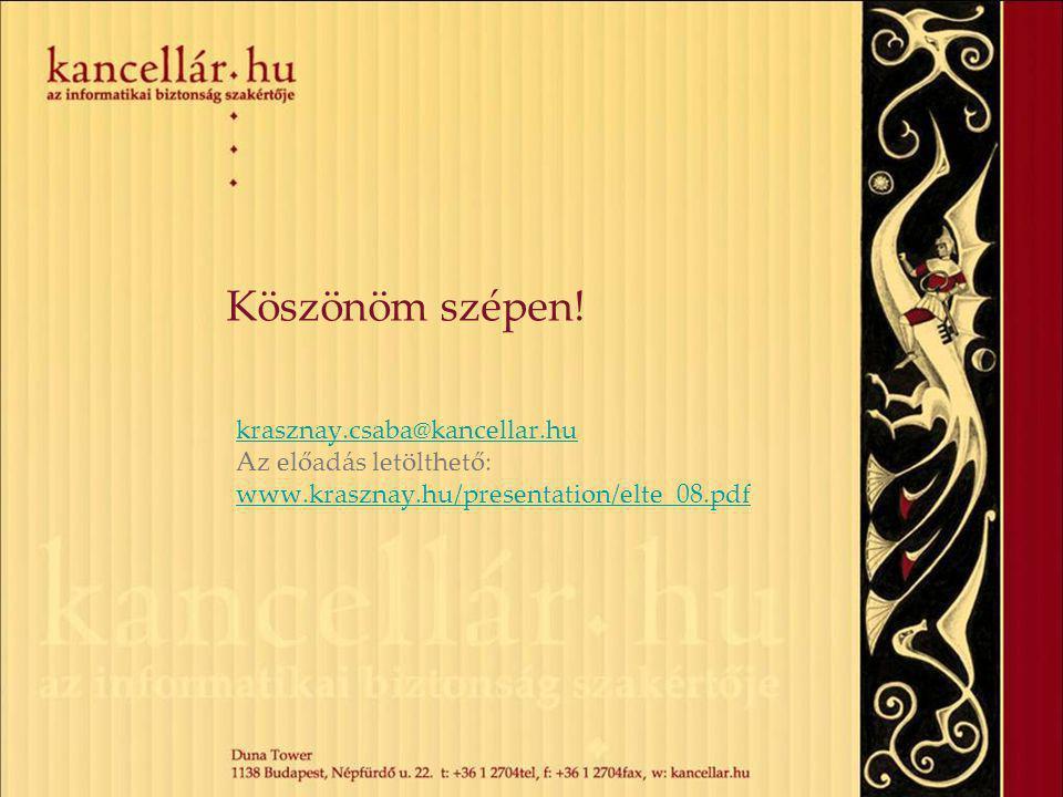 Köszönöm szépen! krasznay.csaba@kancellar.hu Az előadás letölthető: www.krasznay.hu/presentation/elte_08.pdf