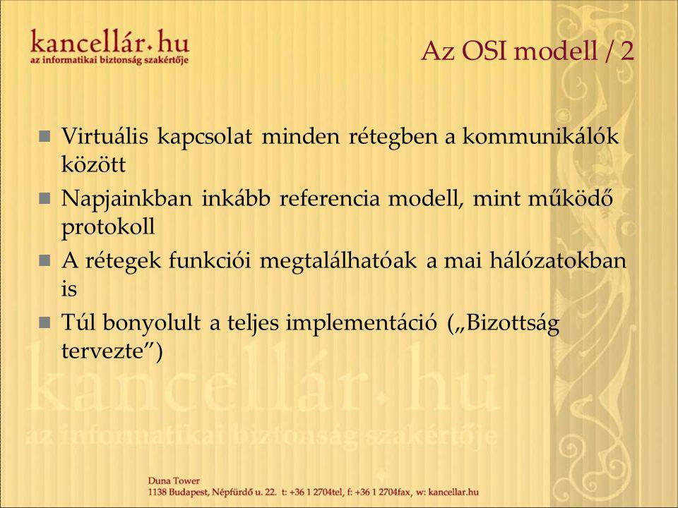 """Az OSI modell / 2 Virtuális kapcsolat minden rétegben a kommunikálók között Napjainkban inkább referencia modell, mint működő protokoll A rétegek funkciói megtalálhatóak a mai hálózatokban is Túl bonyolult a teljes implementáció (""""Bizottság tervezte )"""