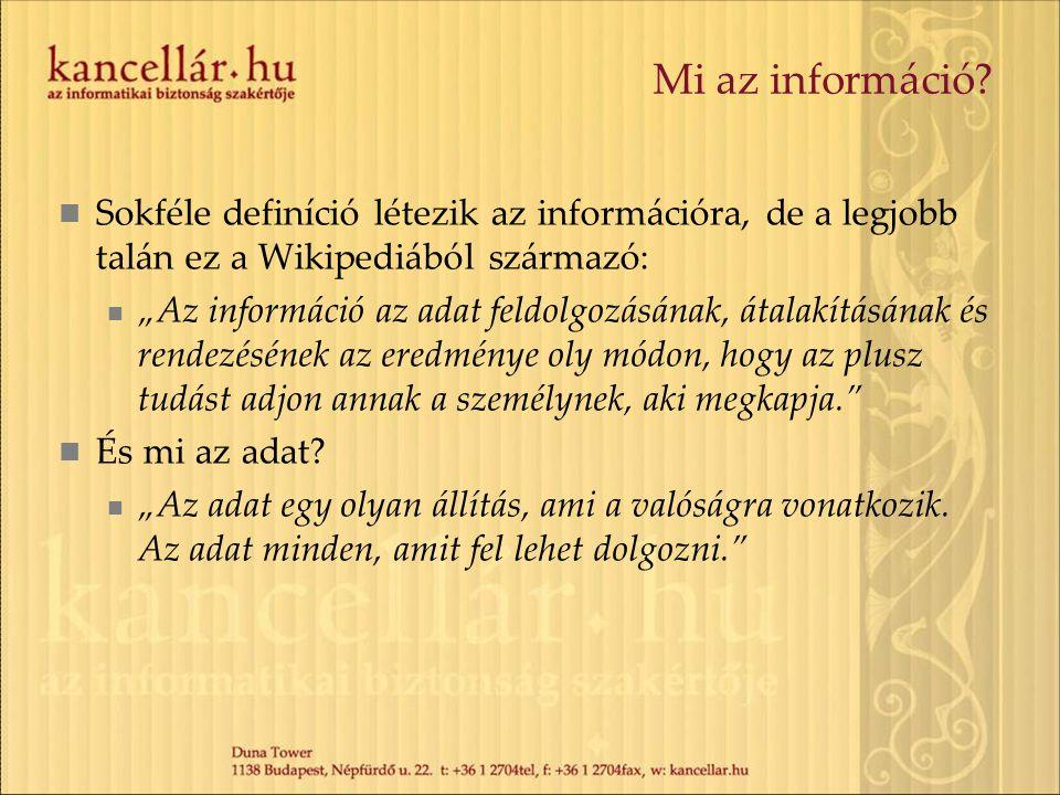 """Mi az információ? Sokféle definíció létezik az információra, de a legjobb talán ez a Wikipediából származó: """"Az információ az adat feldolgozásának, át"""