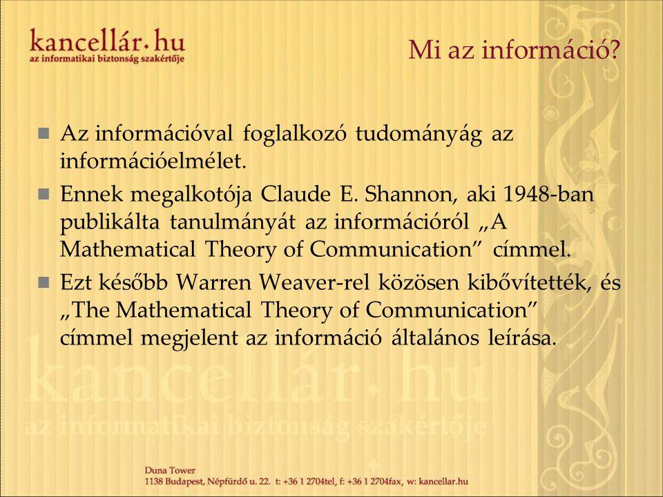 Mi az információ? Az információval foglalkozó tudományág az információelmélet. Ennek megalkotója Claude E. Shannon, aki 1948-ban publikálta tanulmányá