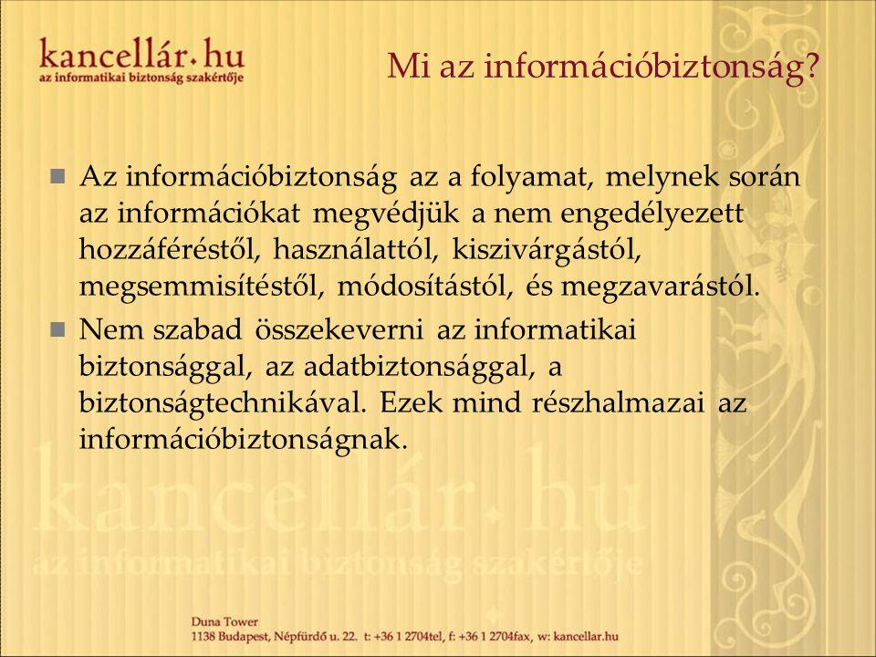 Mi az információbiztonság? Az információbiztonság az a folyamat, melynek során az információkat megvédjük a nem engedélyezett hozzáféréstől, használat