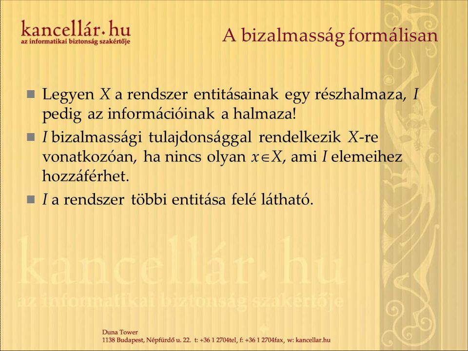 A bizalmasság formálisan Legyen X a rendszer entitásainak egy részhalmaza, I pedig az információinak a halmaza! I bizalmassági tulajdonsággal rendelke