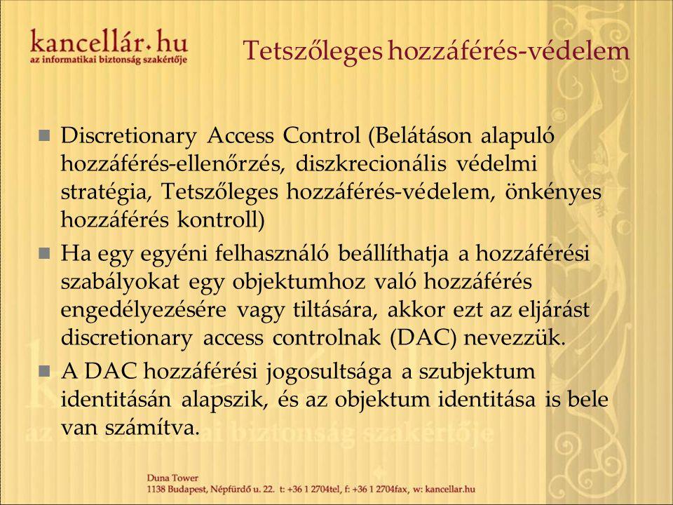 Tetszőleges hozzáférés-védelem Discretionary Access Control (Belátáson alapuló hozzáférés-ellenőrzés, diszkrecionális védelmi stratégia, Tetszőleges h