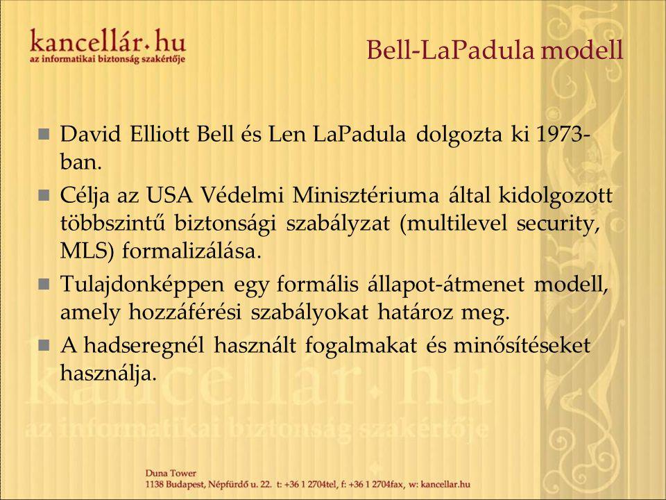 Bell-LaPadula modell David Elliott Bell és Len LaPadula dolgozta ki 1973- ban. Célja az USA Védelmi Minisztériuma által kidolgozott többszintű biztons
