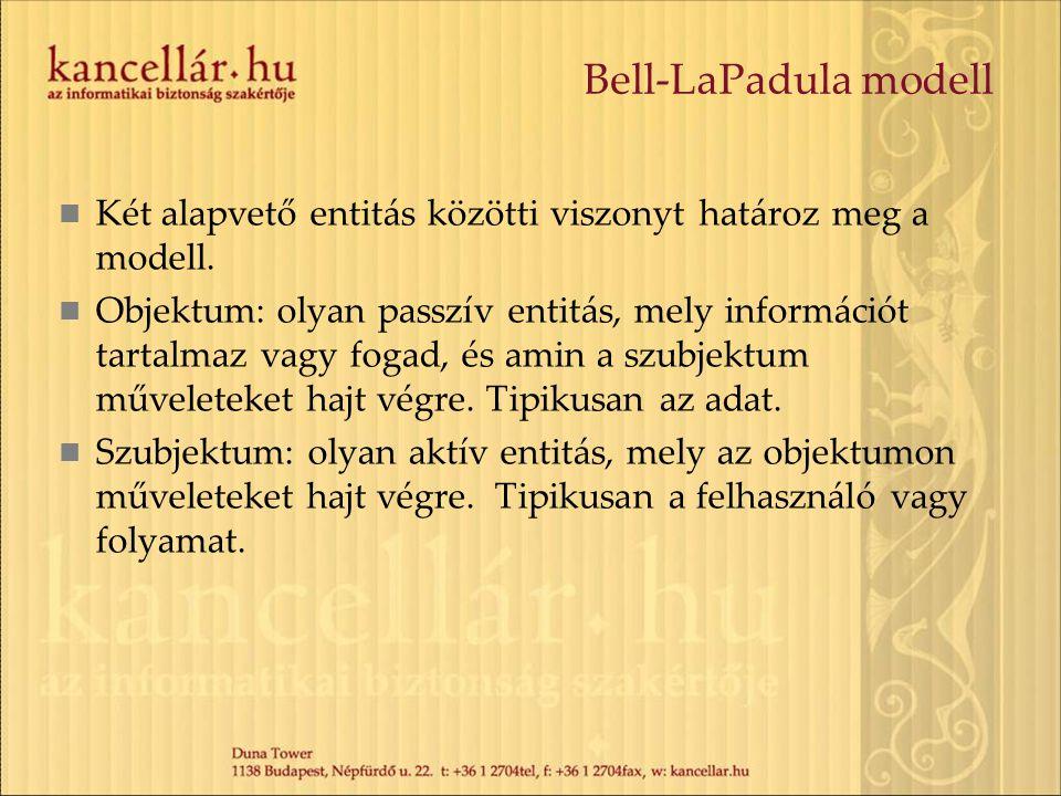 Bell-LaPadula modell Két alapvető entitás közötti viszonyt határoz meg a modell. Objektum: olyan passzív entitás, mely információt tartalmaz vagy foga