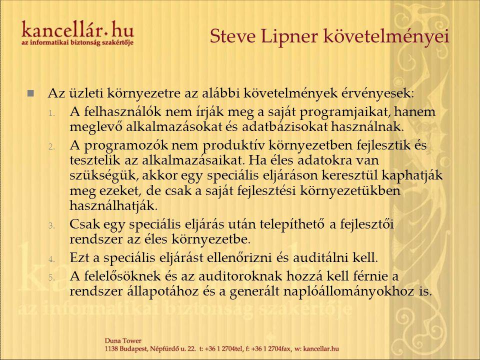 Steve Lipner követelményei Az üzleti környezetre az alábbi követelmények érvényesek: 1. A felhasználók nem írják meg a saját programjaikat, hanem megl