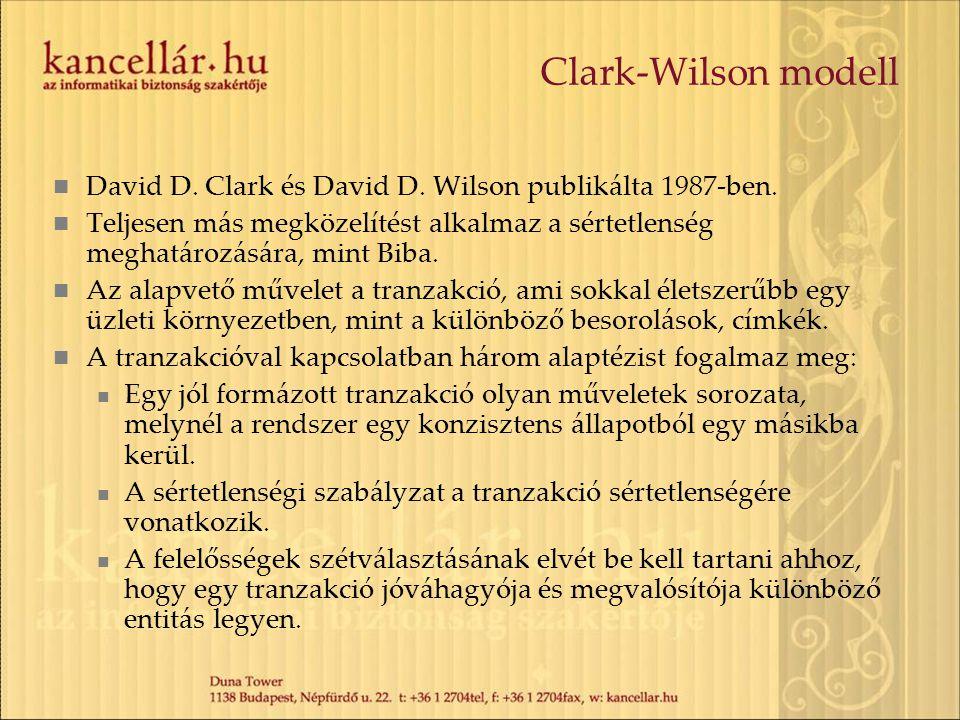 Clark-Wilson modell David D. Clark és David D. Wilson publikálta 1987-ben. Teljesen más megközelítést alkalmaz a sértetlenség meghatározására, mint Bi