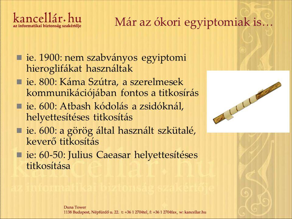 A sötét középkor 1000 körül: a kriptoanalízis felfedezése, mely az arab világból származik 1465: Alberti felfedezi a polialfabetikus titkosítást, mely kivédi a korai, gyakoriságalapú töréseket A titkosítás (az információk védelme) elterjedtté válik a diplomáciai levelezésekben 1518: Megjelenik Johannes Trithemius spanheimi apát Polygraphiae című műve, mely az első kriptográfiával foglakozó nyomtatott könyv 1586: Vigenère titkosító: hosszú ideig a legjobb titkosítási eljárás volt