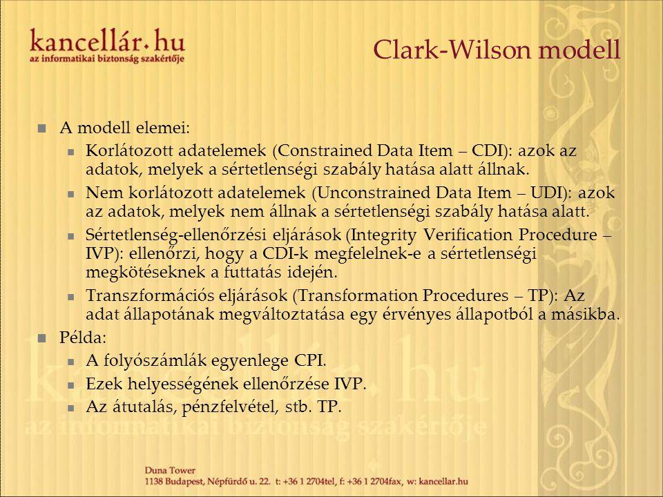 Clark-Wilson modell A modell elemei: Korlátozott adatelemek (Constrained Data Item – CDI): azok az adatok, melyek a sértetlenségi szabály hatása alatt