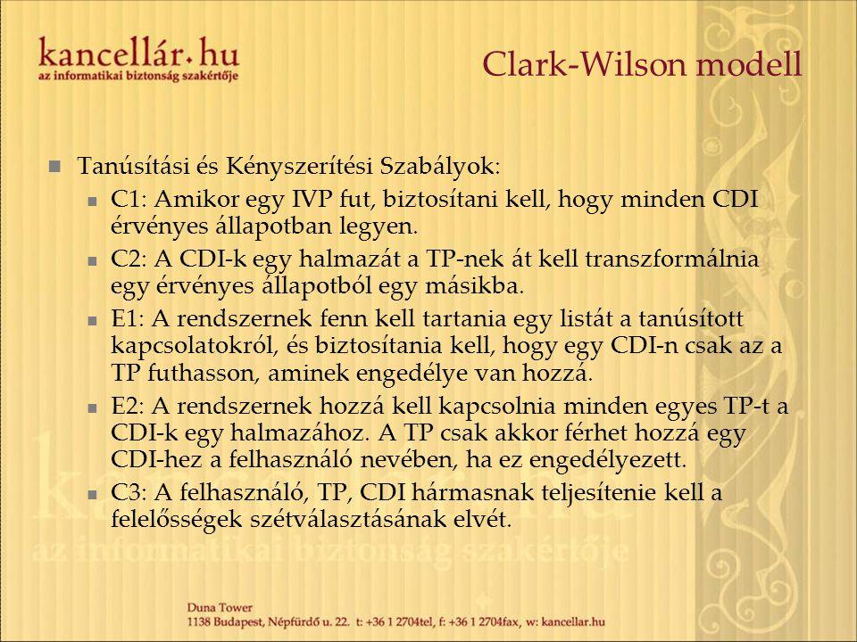 Clark-Wilson modell Tanúsítási és Kényszerítési Szabályok: C1: Amikor egy IVP fut, biztosítani kell, hogy minden CDI érvényes állapotban legyen. C2: A