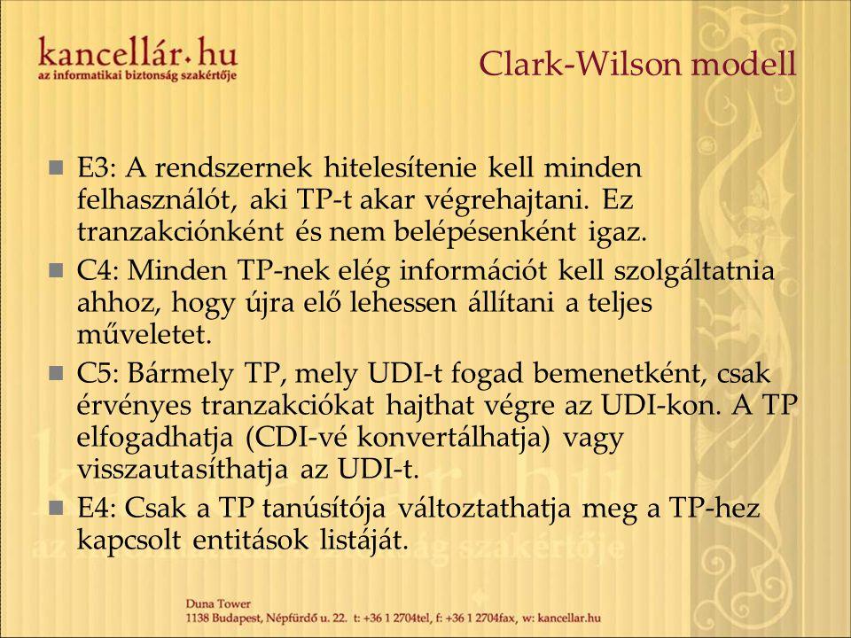 Clark-Wilson modell E3: A rendszernek hitelesítenie kell minden felhasználót, aki TP-t akar végrehajtani. Ez tranzakciónként és nem belépésenként igaz