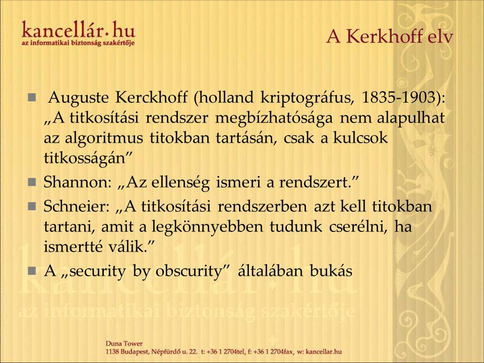 """A Kerkhoff elv Auguste Kerckhoff (holland kriptográfus, 1835-1903): """"A titkosítási rendszer megbízhatósága nem alapulhat az algoritmus titokban tartásán, csak a kulcsok titkosságán Shannon: """"Az ellenség ismeri a rendszert. Schneier: """"A titkosítási rendszerben azt kell titokban tartani, amit a legkönnyebben tudunk cserélni, ha ismertté válik. A """"security by obscurity általában bukás"""