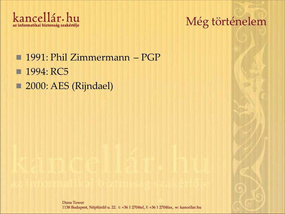 Még történelem 1991: Phil Zimmermann – PGP 1994: RC5 2000: AES (Rijndael)