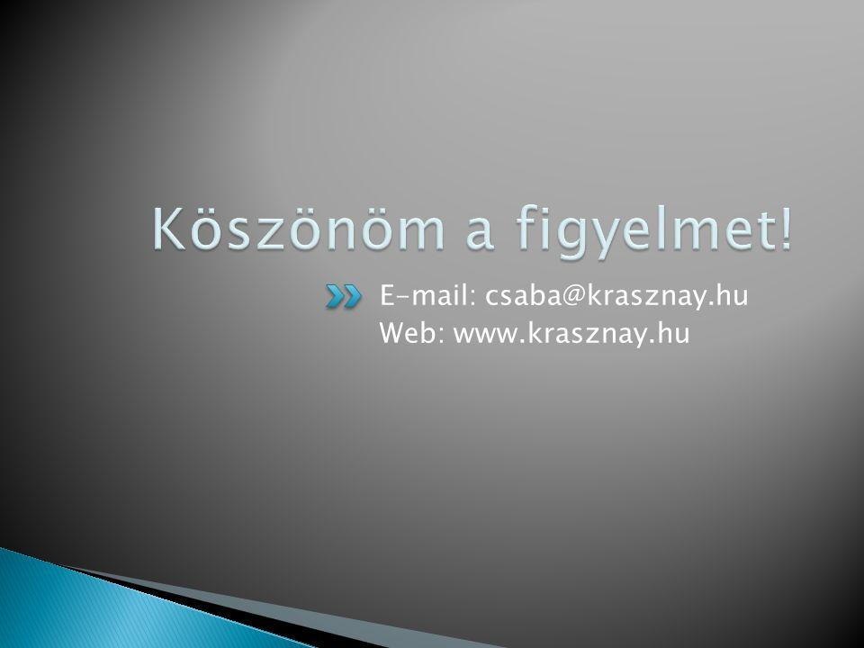 E-mail: csaba@krasznay.hu Web: www.krasznay.hu
