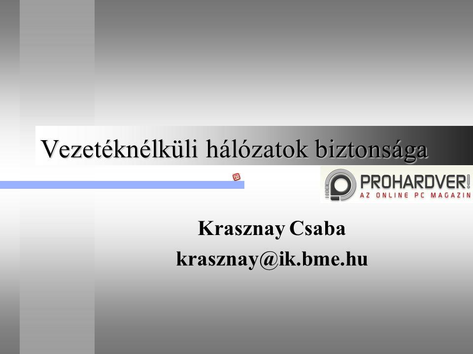 Vezetéknélküli hálózatok biztonsága Krasznay Csaba krasznay@ik.bme.hu