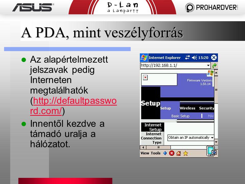 A PDA, mint veszélyforrás Az alapértelmezett jelszavak pedig Interneten megtalálhatók (http://defaultpasswo rd.com/)http://defaultpasswo rd.com/ Innentől kezdve a támadó uralja a hálózatot.