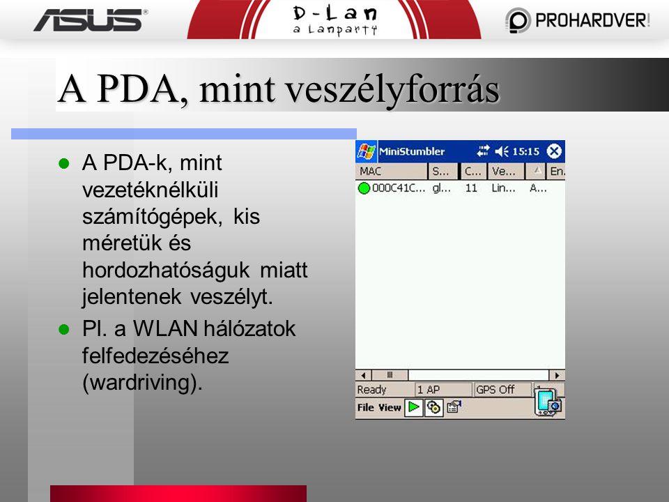 A PDA, mint veszélyforrás A PDA-k, mint vezetéknélküli számítógépek, kis méretük és hordozhatóságuk miatt jelentenek veszélyt. Pl. a WLAN hálózatok fe