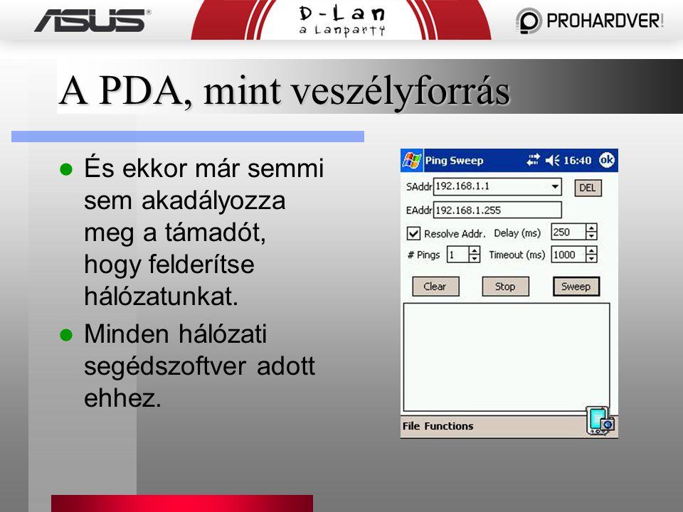 A PDA, mint veszélyforrás És ekkor már semmi sem akadályozza meg a támadót, hogy felderítse hálózatunkat.