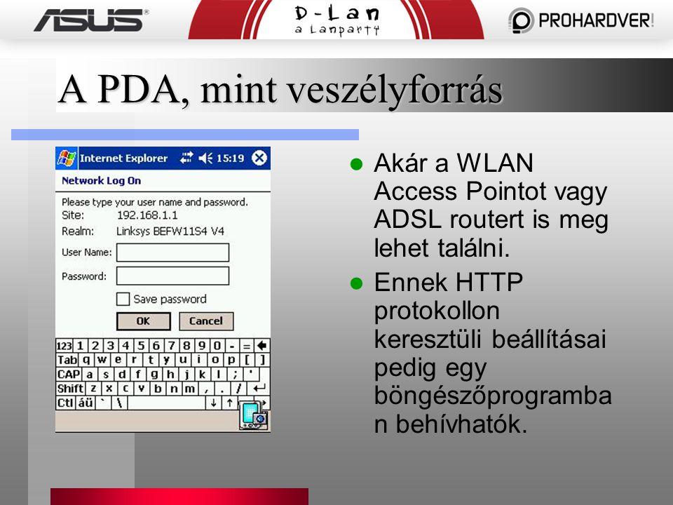 A PDA, mint veszélyforrás Akár a WLAN Access Pointot vagy ADSL routert is meg lehet találni.