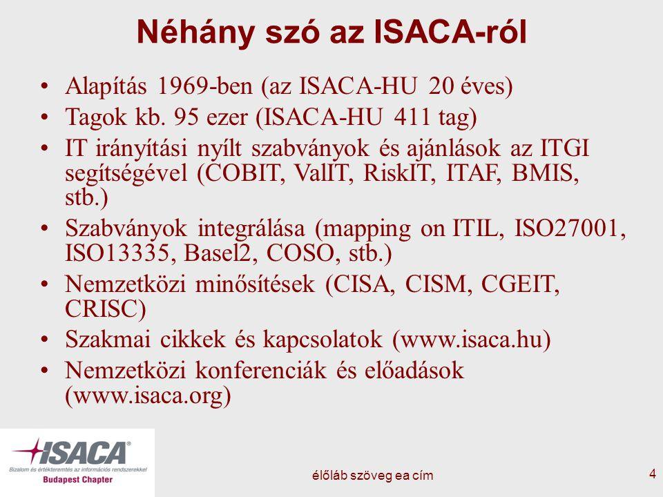 élőláb szöveg ea cím 4 Néhány szó az ISACA-ról Alapítás 1969-ben (az ISACA-HU 20 éves) Tagok kb. 95 ezer (ISACA-HU 411 tag) IT irányítási nyílt szabvá