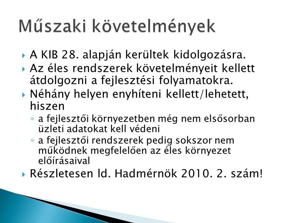  A KIB 28. alapján kerültek kidolgozásra.  Az éles rendszerek követelményeit kellett átdolgozni a fejlesztési folyamatokra.  Néhány helyen enyhíten