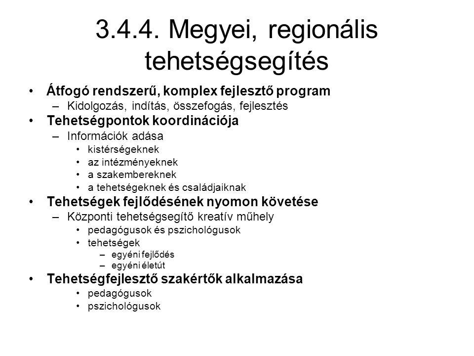 3.4.4. Megyei, regionális tehetségsegítés Átfogó rendszerű, komplex fejlesztő program –Kidolgozás, indítás, összefogás, fejlesztés Tehetségpontok koor