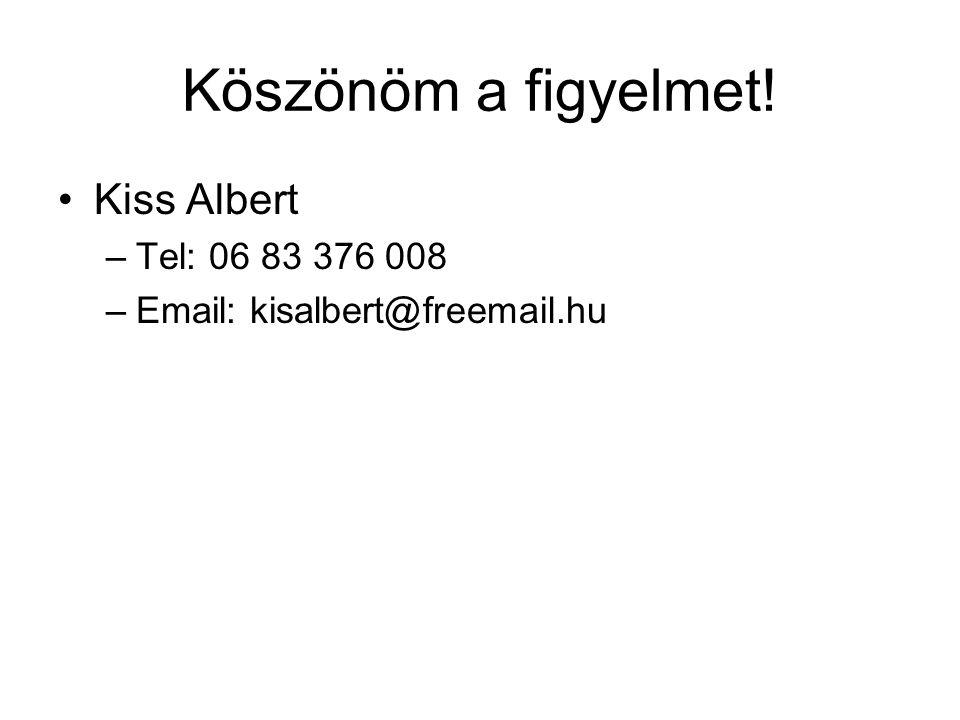Köszönöm a figyelmet! Kiss Albert –Tel: 06 83 376 008 –Email: kisalbert@freemail.hu