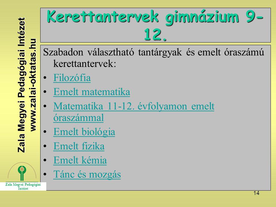 14 Kerettantervek gimnázium 9- 12. Szabadon választható tantárgyak és emelt óraszámú kerettantervek: Filozófia Emelt matematika Matematika 11-12. évfo