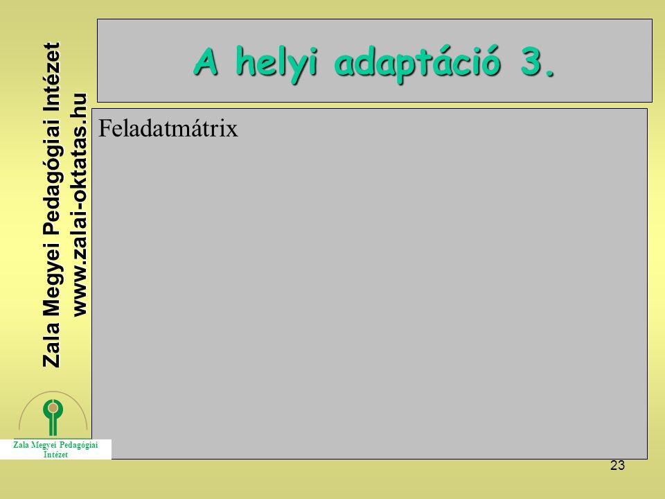 23 A helyi adaptáció 3. Feladatmátrix Zala Megyei Pedagógiai Intézet www.zalai-oktatas.hu