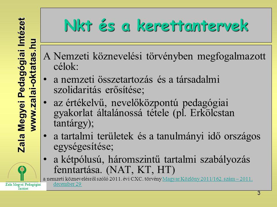 3 Nkt és a kerettantervek A Nemzeti köznevelési törvényben megfogalmazott célok: a nemzeti összetartozás és a társadalmi szolidaritás erősítése; az ér