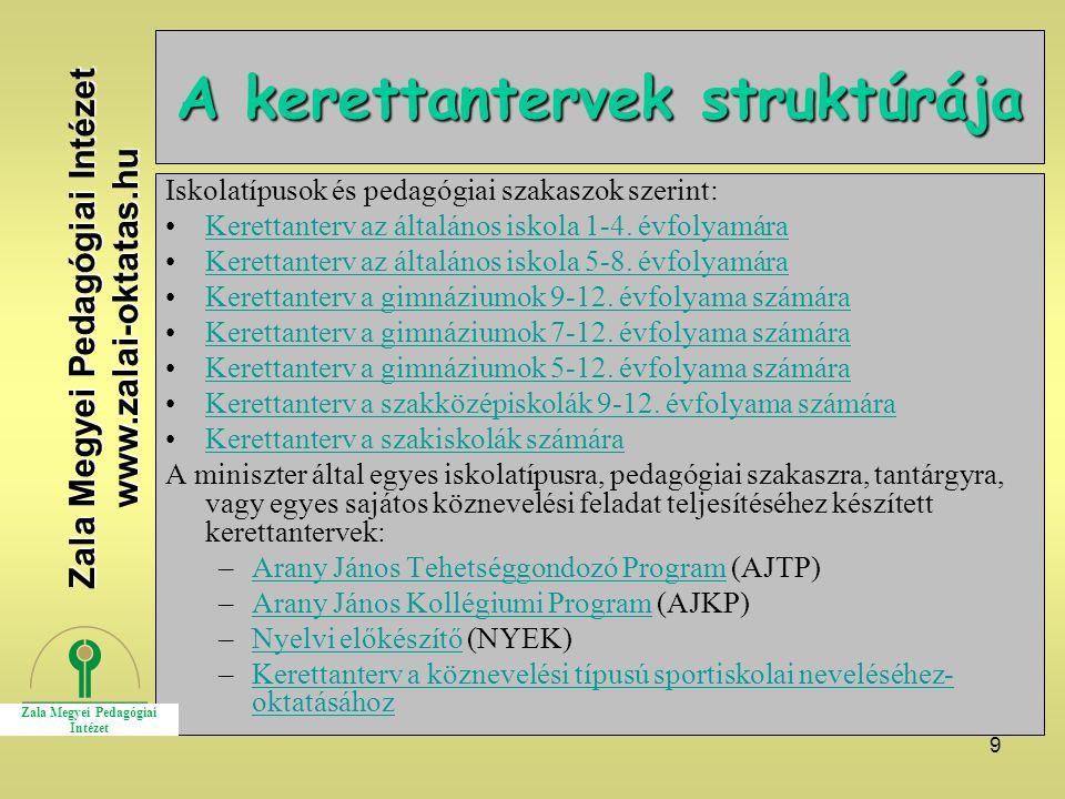 9 A kerettantervek struktúrája Iskolatípusok és pedagógiai szakaszok szerint: Kerettanterv az általános iskola 1-4. évfolyamára Kerettanterv az általá