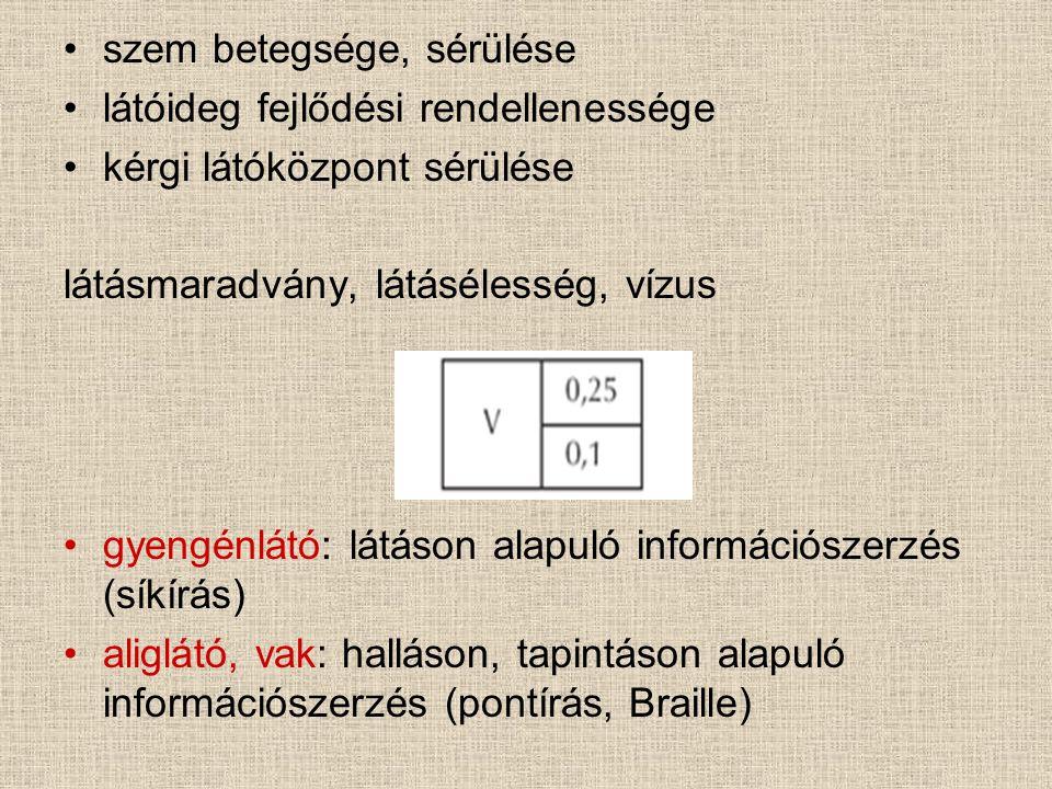 szem betegsége, sérülése látóideg fejlődési rendellenessége kérgi látóközpont sérülése látásmaradvány, látásélesség, vízus gyengénlátó: látáson alapuló információszerzés (síkírás) aliglátó, vak: halláson, tapintáson alapuló információszerzés (pontírás, Braille)