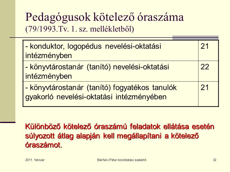 32 Pedagógusok kötelező óraszáma (79/1993.Tv. 1. sz. mellékletből) - konduktor, logopédus nevelési-oktatási intézményben 21 - könyvtárostanár (tanító)