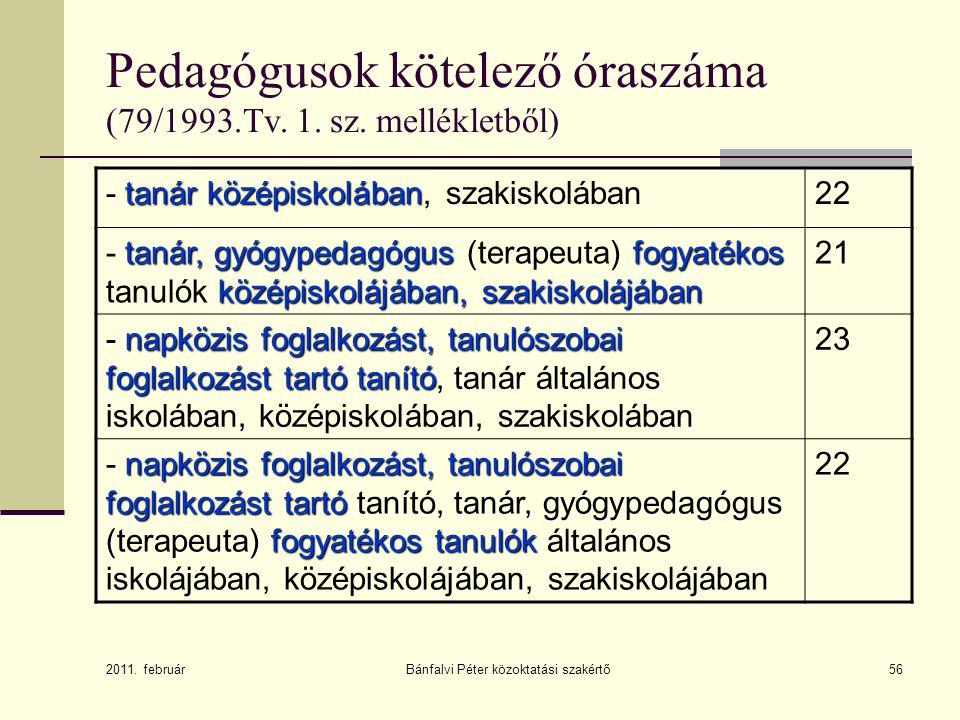 56 Pedagógusok kötelező óraszáma (79/1993.Tv. 1. sz. mellékletből) tanár középiskolában - tanár középiskolában, szakiskolában22 tanár, gyógypedagógusf