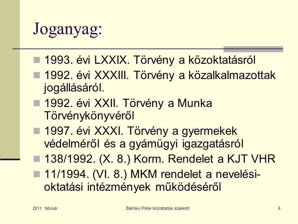 Bánfalvi Péter közoktatási szakértő6 Joganyag: 1993. évi LXXIX. Törvény a közoktatásról 1992. évi XXXIII. Törvény a közalkalmazottak jogállásáról. 199