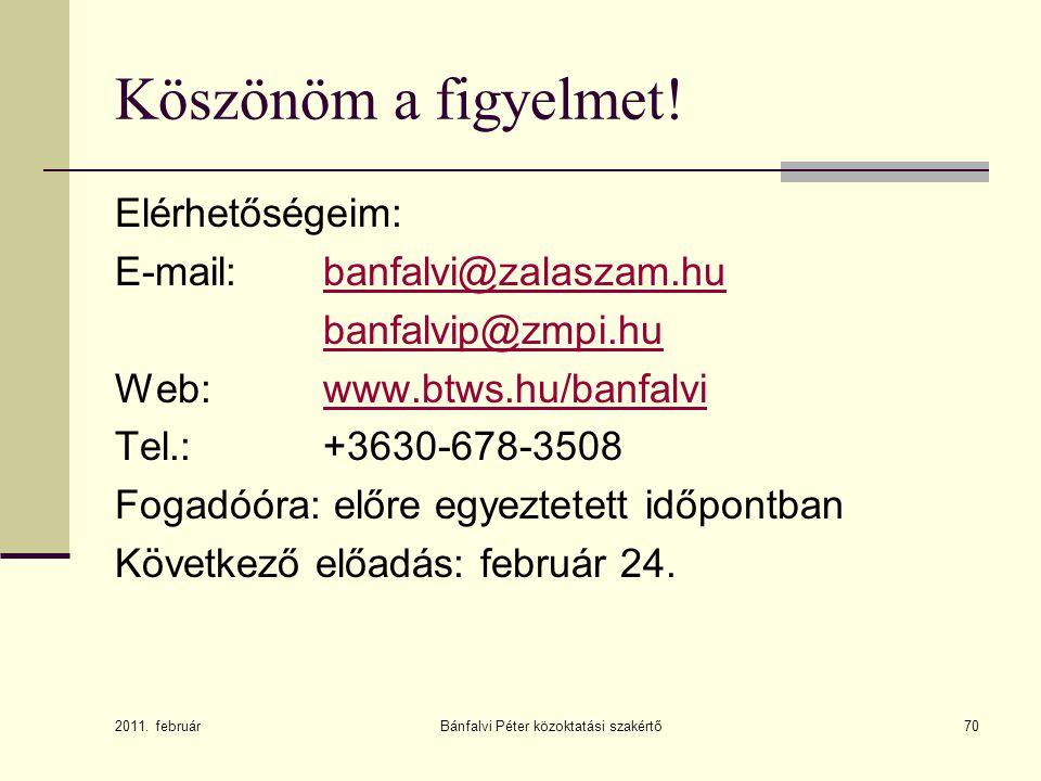 Bánfalvi Péter közoktatási szakértő70 Köszönöm a figyelmet! Elérhetőségeim: E-mail: banfalvi@zalaszam.hubanfalvi@zalaszam.hu banfalvip@zmpi.hu Web: ww