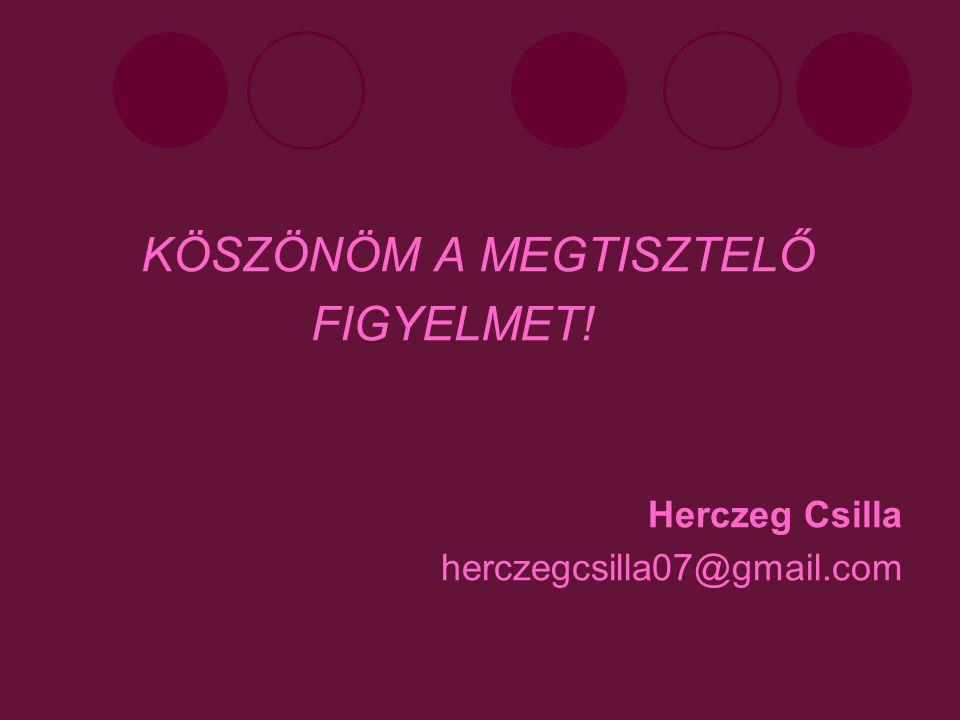 KÖSZÖNÖM A MEGTISZTELŐ FIGYELMET! Herczeg Csilla herczegcsilla07@gmail.com