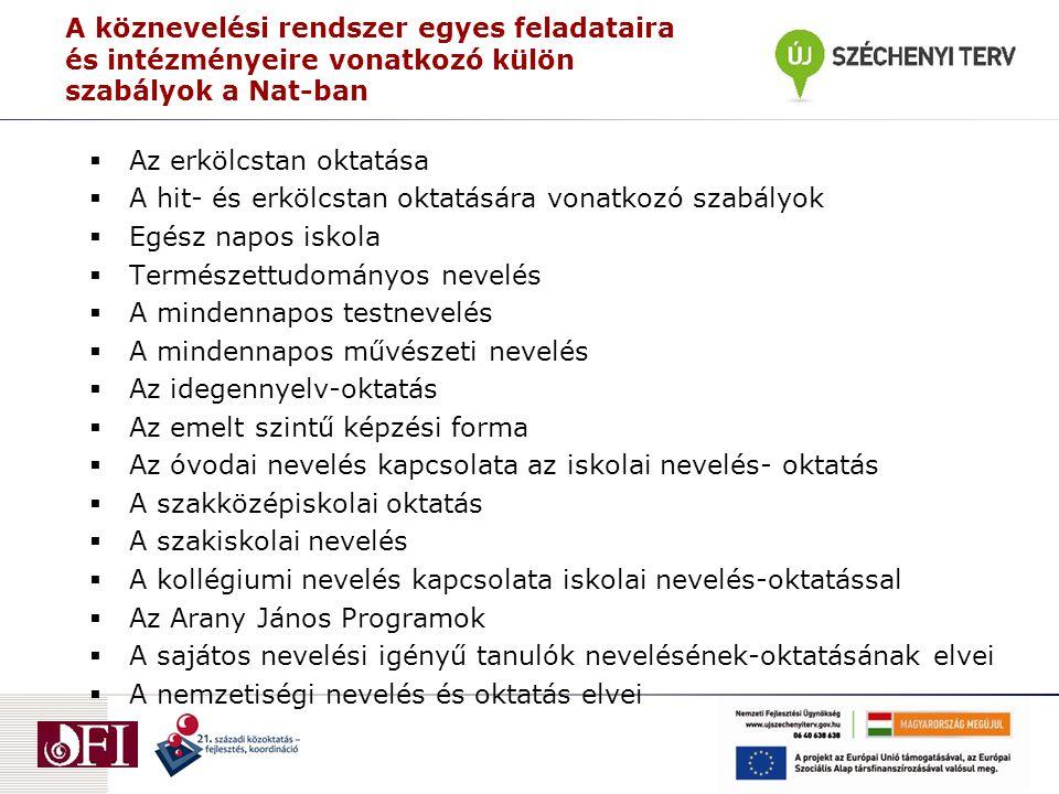A Műveltségi területek 1.Magyar nyelv és irodalom 2.Idegen nyelvek 3.Matematika 4.Ember és társadalom 5.Ember és természet 6.Földünk – környezetünk 7.Művészetek 8.Informatika 9.Életvitel és gyakorlat 10.Testnevelés és sport
