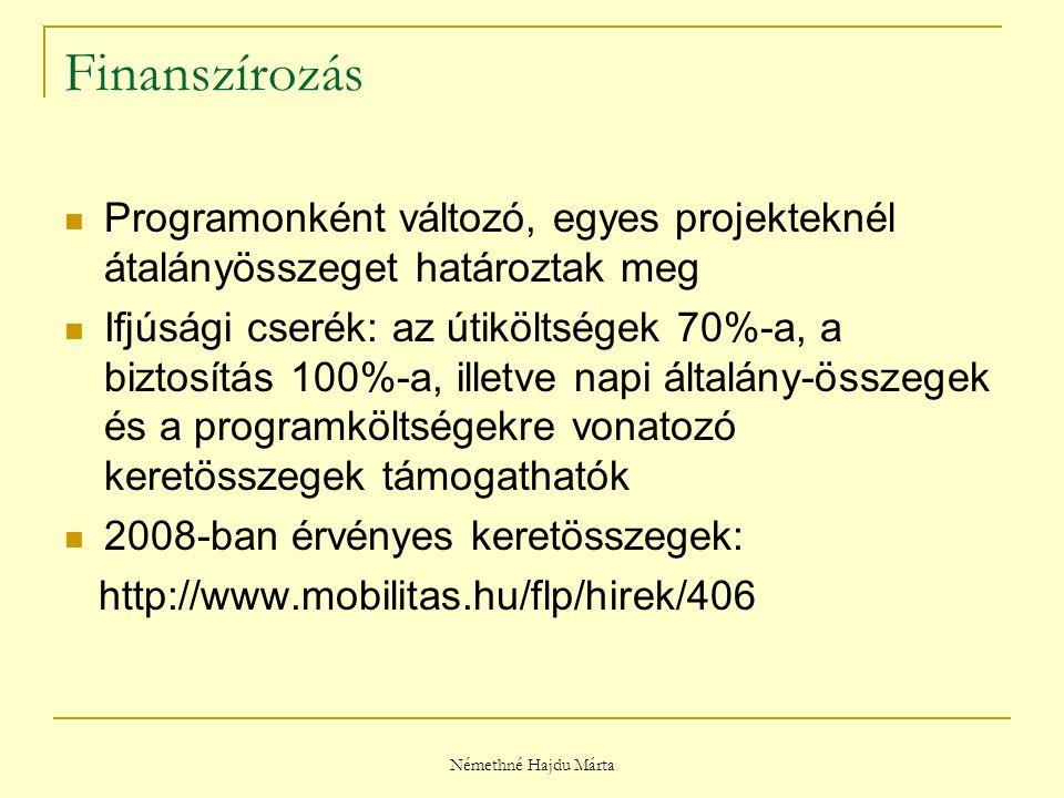 Némethné Hajdu Márta Finanszírozás Programonként változó, egyes projekteknél átalányösszeget határoztak meg Ifjúsági cserék: az útiköltségek 70%-a, a biztosítás 100%-a, illetve napi általány-összegek és a programköltségekre vonatozó keretösszegek támogathatók 2008-ban érvényes keretösszegek: http://www.mobilitas.hu/flp/hirek/406
