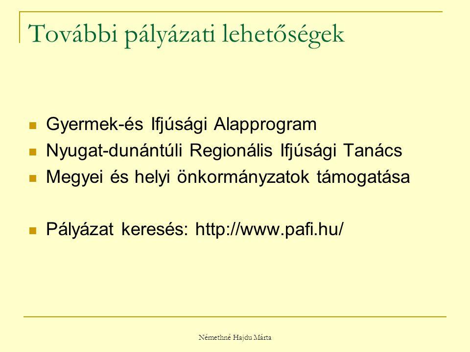 Némethné Hajdu Márta További pályázati lehetőségek Gyermek-és Ifjúsági Alapprogram Nyugat-dunántúli Regionális Ifjúsági Tanács Megyei és helyi önkormányzatok támogatása Pályázat keresés: http://www.pafi.hu/