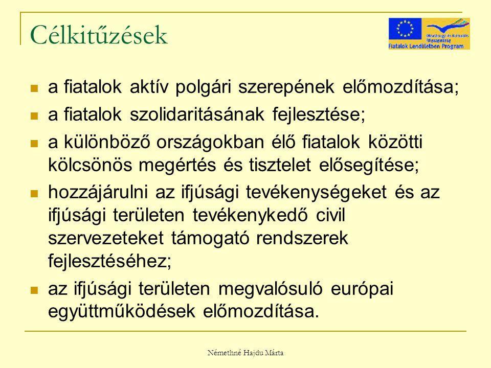 Némethné Hajdu Márta Célkitűzések a fiatalok aktív polgári szerepének előmozdítása; a fiatalok szolidaritásának fejlesztése; a különböző országokban élő fiatalok közötti kölcsönös megértés és tisztelet elősegítése; hozzájárulni az ifjúsági tevékenységeket és az ifjúsági területen tevékenykedő civil szervezeteket támogató rendszerek fejlesztéséhez; az ifjúsági területen megvalósuló európai együttműködések előmozdítása.