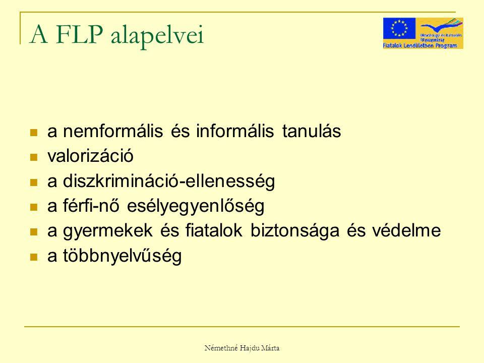 Némethné Hajdu Márta A FLP alapelvei a nemformális és informális tanulás valorizáció a diszkrimináció-ellenesség a férfi-nő esélyegyenlőség a gyermekek és fiatalok biztonsága és védelme a többnyelvűség
