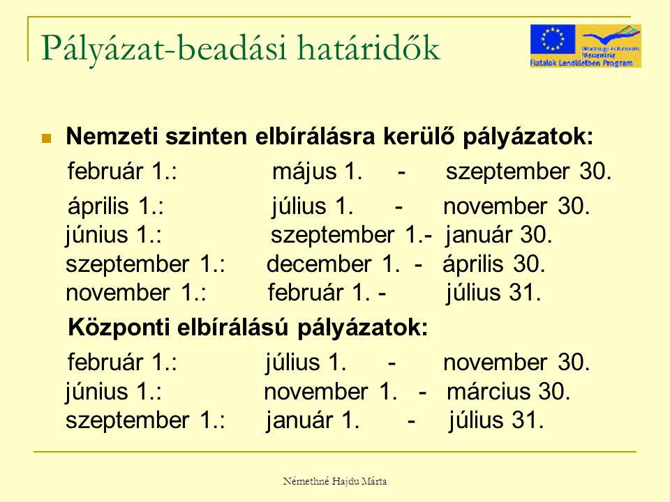 Némethné Hajdu Márta Pályázat-beadási határidők Nemzeti szinten elbírálásra kerülő pályázatok: február 1.: május 1.