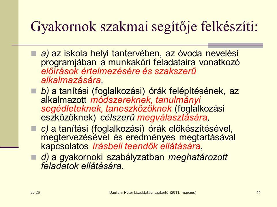 Bánfalvi Péter közoktatási szakértő (2011. március)11 Gyakornok szakmai segítője felkészíti: a) az iskola helyi tantervében, az óvoda nevelési program