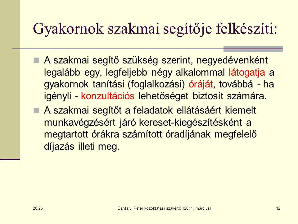 Bánfalvi Péter közoktatási szakértő (2011. március)12 Gyakornok szakmai segítője felkészíti: A szakmai segítő szükség szerint, negyedévenként legalább